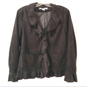 Rafaella Faux Suede Black Ruffled Jacket